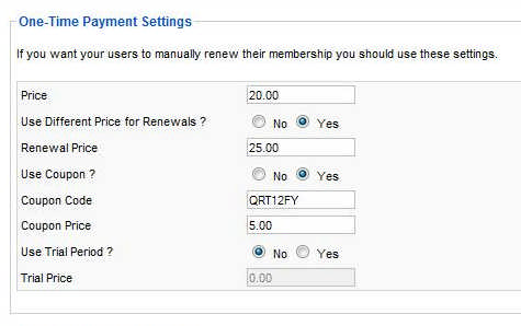 configure one time payment membership - Joomla! backend view